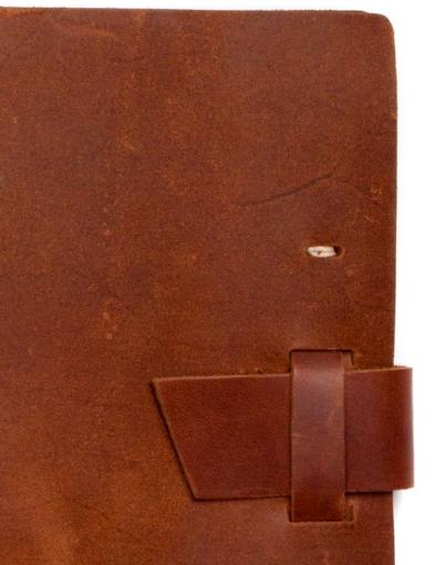 saddle brown leather traveler journal with buckle