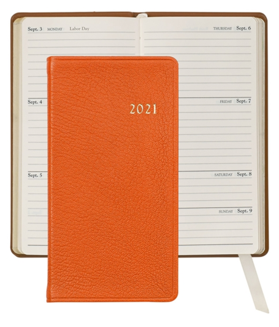 "2021 6"" Goatskin Leather Pocket Datebook"