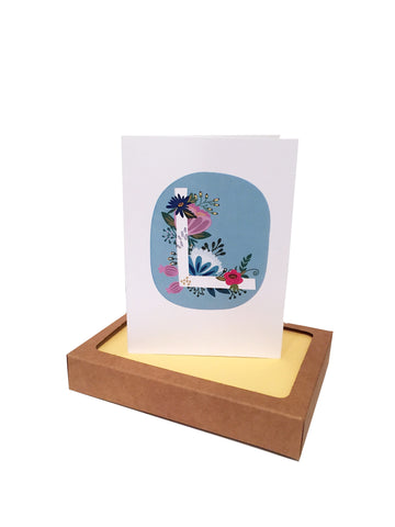 Spring Floral Initial Note Cards