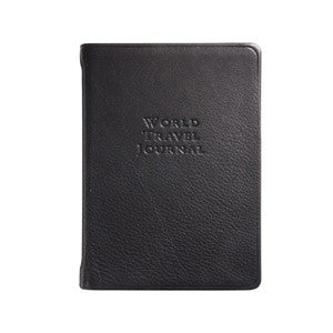 small black leather travel journal