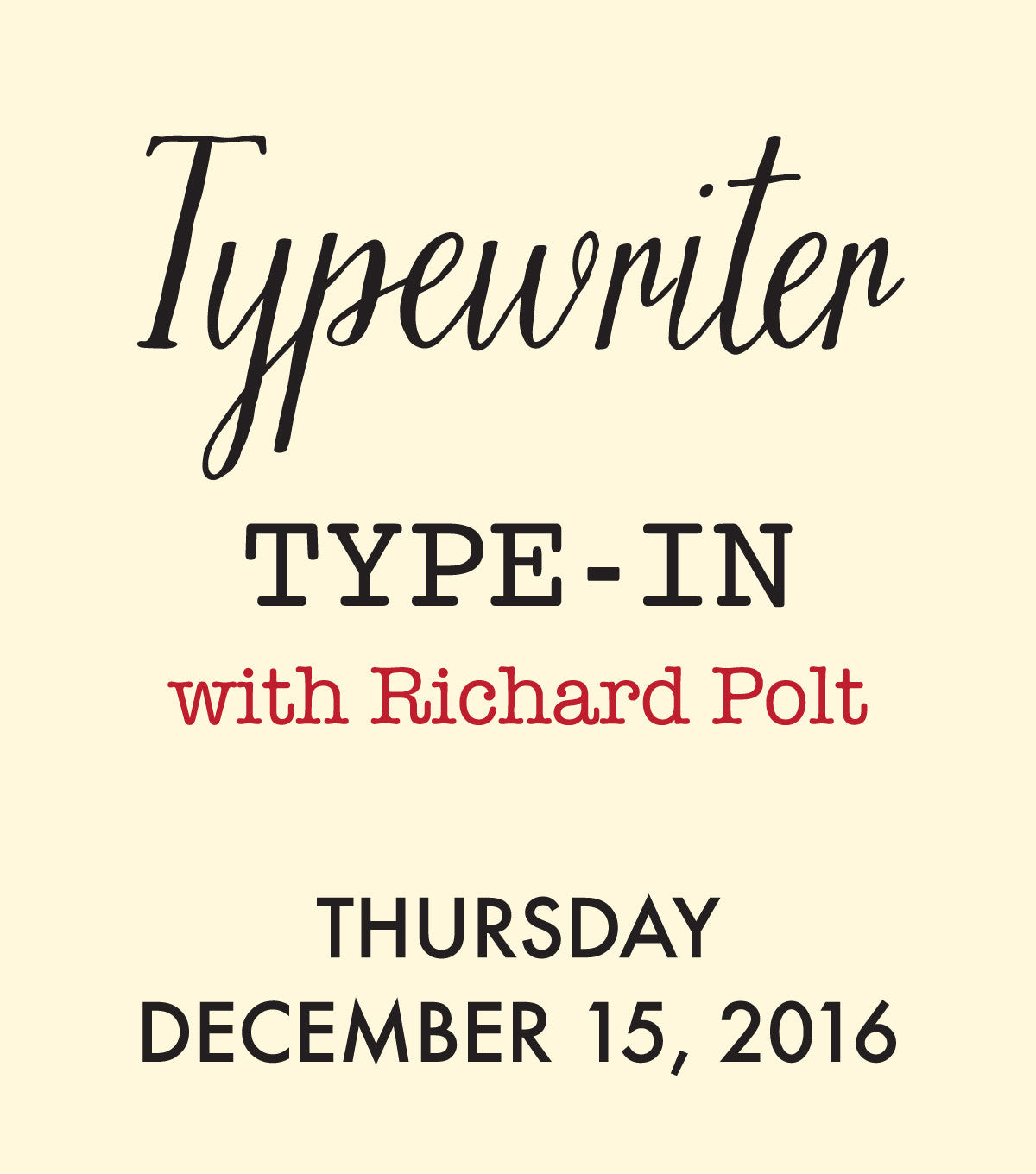 Typewriter Type-in <br>with Richard Polt