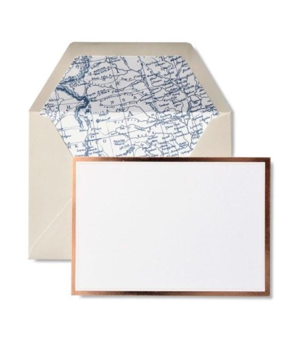 Vintage Map & Rose Gold Foil - Set of 12