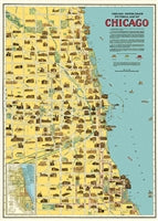 Load image into Gallery viewer, Vintage Style Map - Chicago