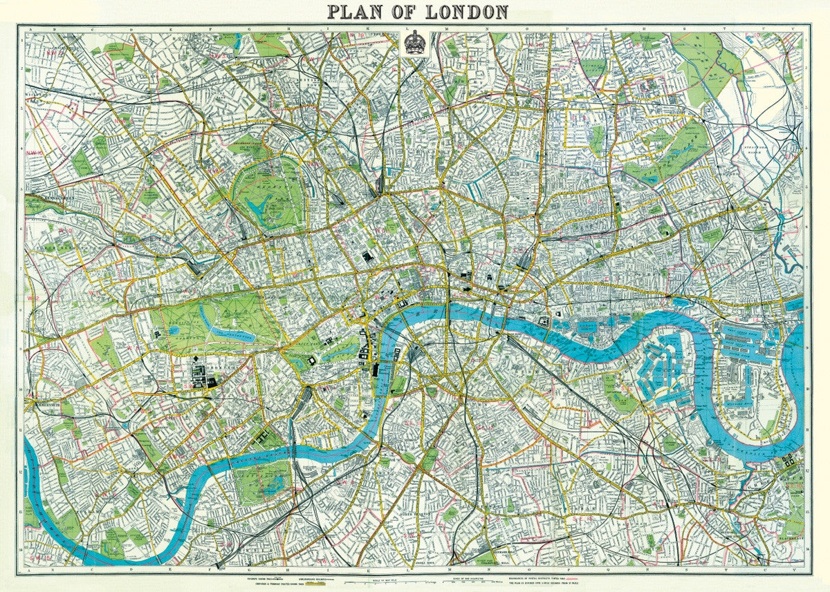 Plan of London Vintage Style Map