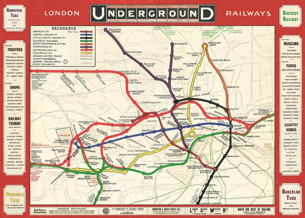 Vintage Style Map - London Underground
