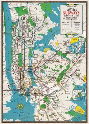 Vintage Style Map - NYC Subways