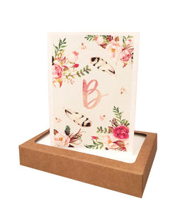 Watercolor Flowers Initial Note Cards