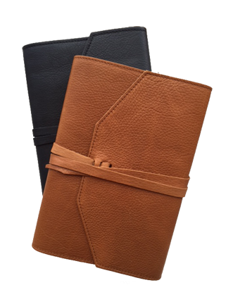 Refillable leather journal flap wrap tie