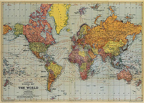 Beautiful Map Of The World.Vintage Style Map World 1 On Paper