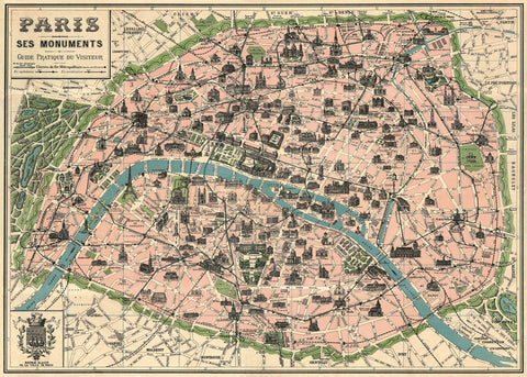 Vintage Style Map - Paris