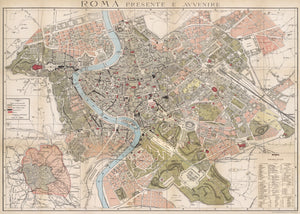 Vintage Style Map - Rome