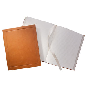 large hardbound leather journal with lined pages