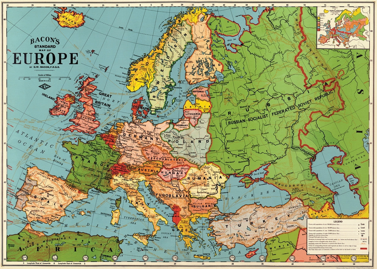 vintage style map europe