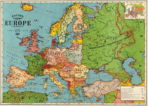 Vintage Style Map - Europe