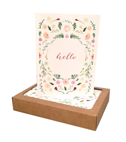On Paper Hello Watercolor Floral Notecards