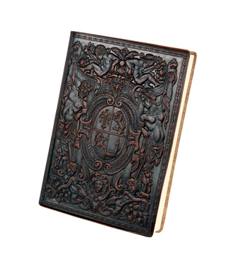 embossed crest old world leather journal