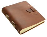 Load image into Gallery viewer, saddle brown leather traveler journal with buckle