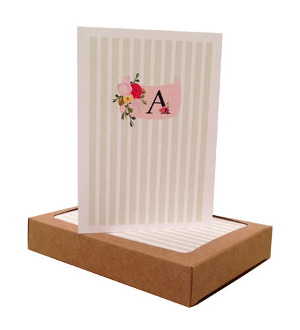 Striped Floral Initial Note Cards