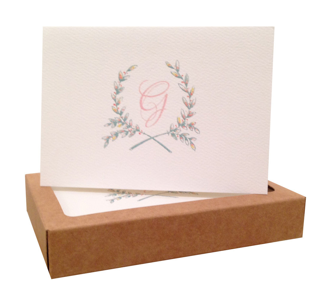 wreath initial note cards - Initial Note Cards