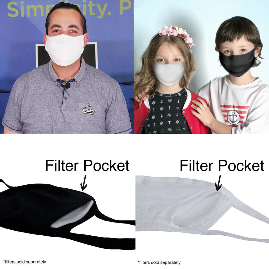 Reusable 2 Layer Cotton Protective Facemask With Filter Pocket - Made in USA!