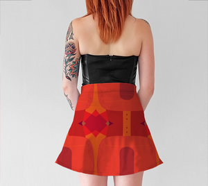 Women's Witty Skater Skirt - Always Ask Why - Orange