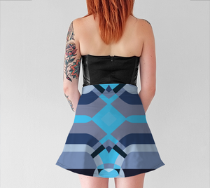 Women's Witty Skater Skirt - Neural Traffic Fast - Blue