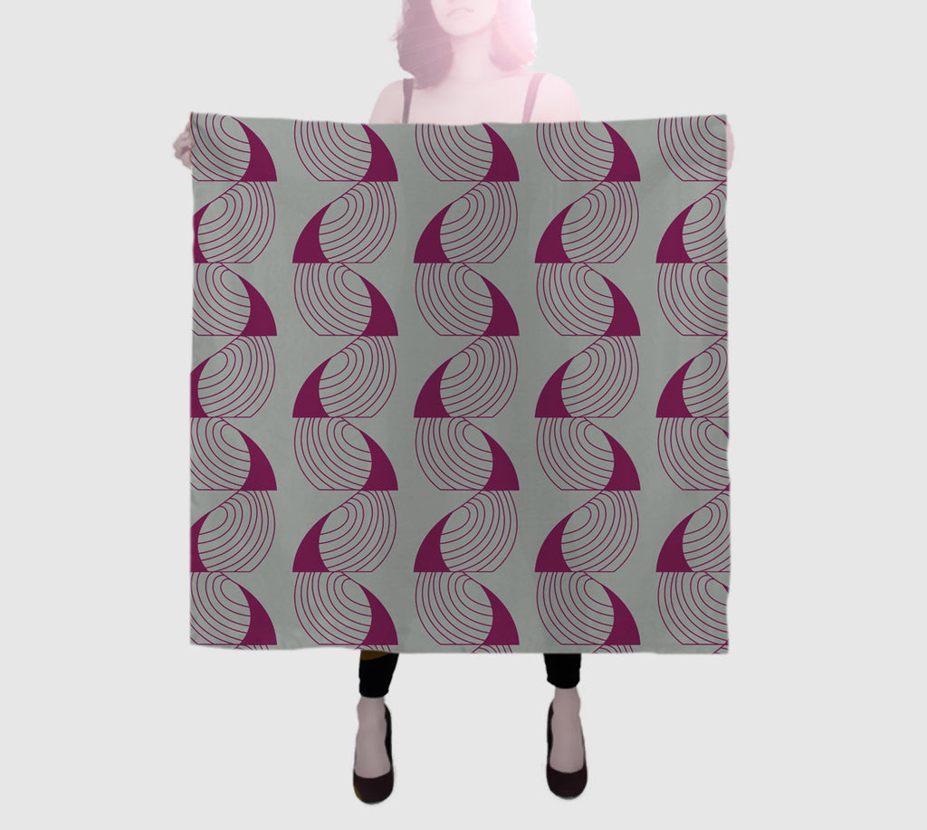Epic Square Silk Scarf - Coup De Grace - Magenta/Grey