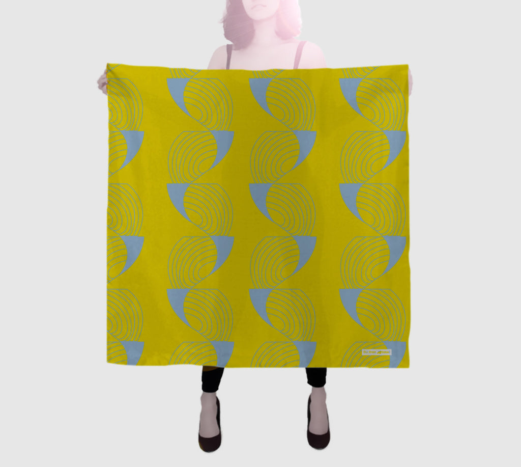 Epic Square Silk Scarf - Coup De Grace - Yellow/Grey