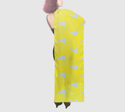 Epic Wide Silk Scarf - Coup De Grace - Yellow/Grey
