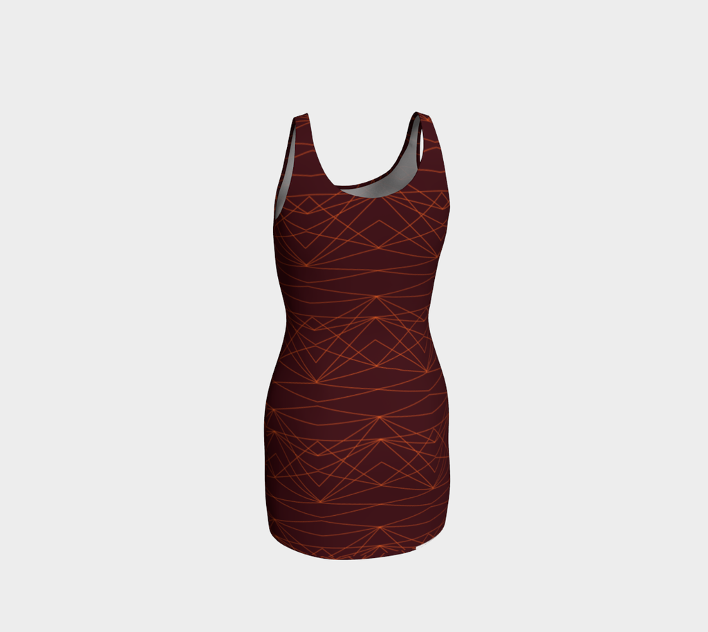 Day to Night  BodyCon Dress - Divine Grace - Burgundy / Orange
