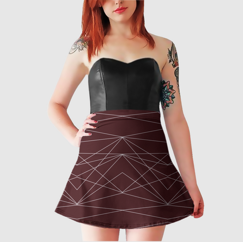Women's Witty Skater Skirt - Divine Grace - Burgundy