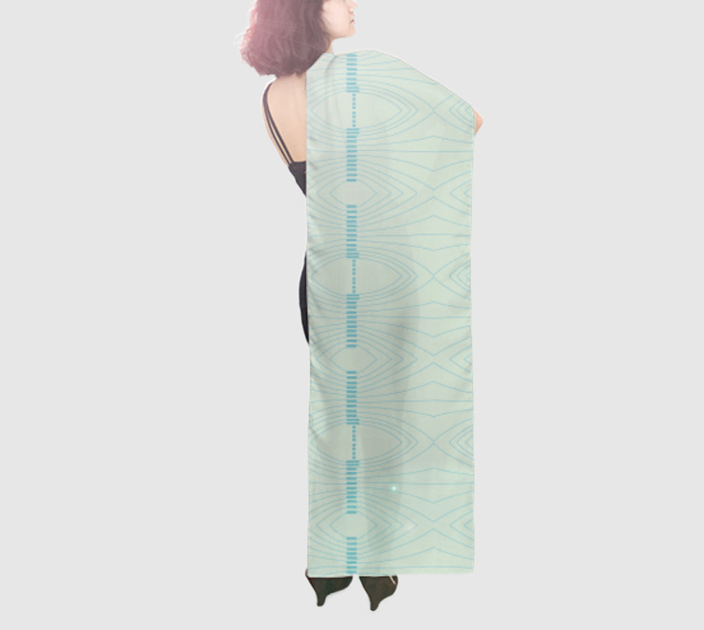 Epic Wide Silk Scarf - Going To Smash - Seafoam