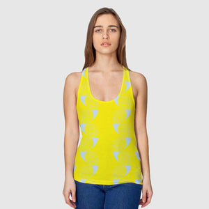 Women's Perfect-Breasted All Over Racerback Tank - Coup De Grace - Yellow Grey