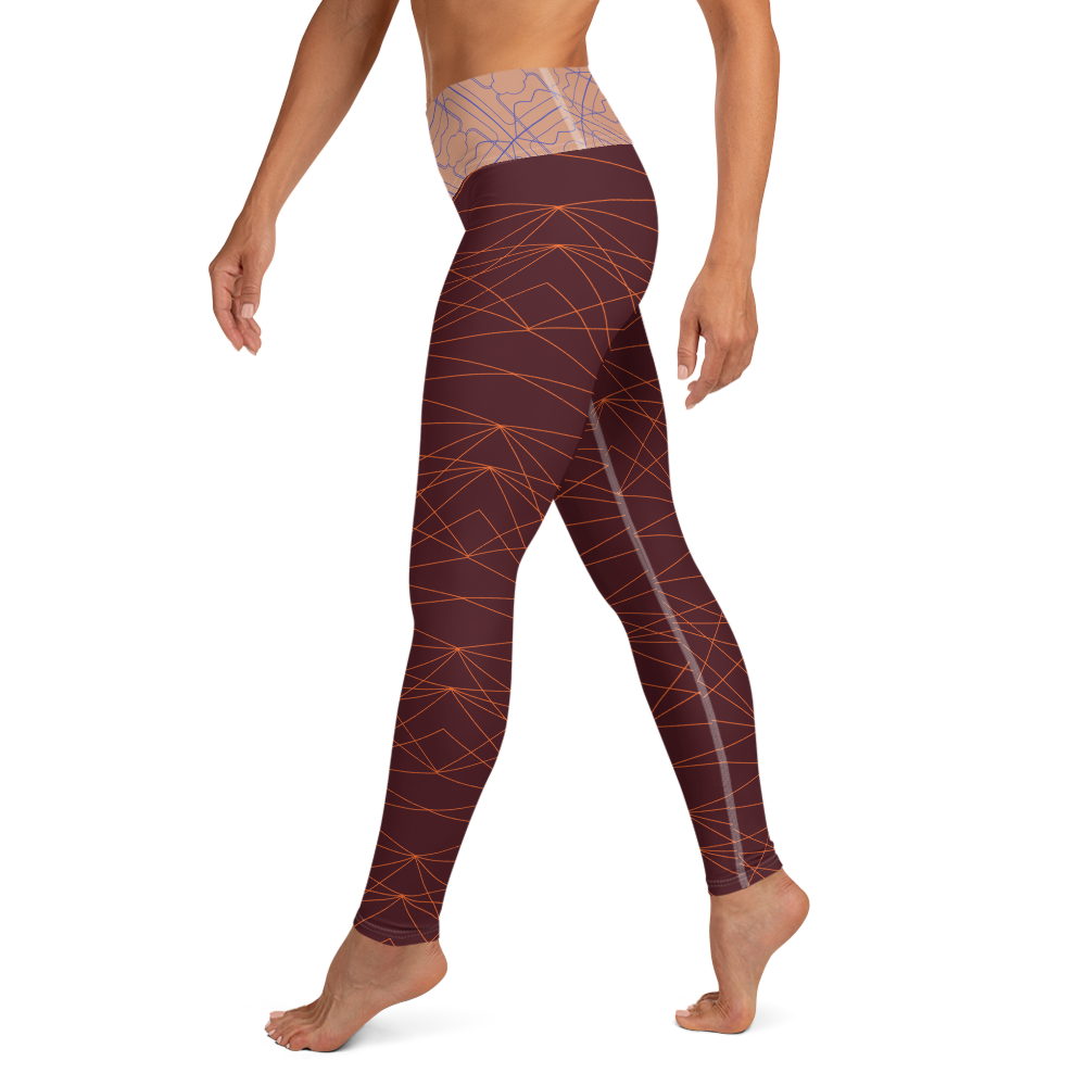 FoldOver The Moon Leggings - Divine Grace / 3 Years - Burgundy / Peach