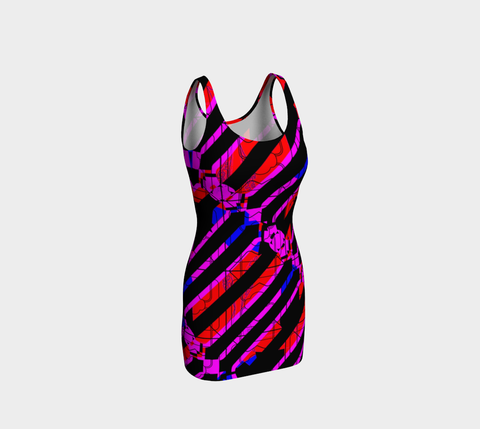 Strobe All Over Print BodyCon Dress - Neural Traffic Fast - Purple/Red