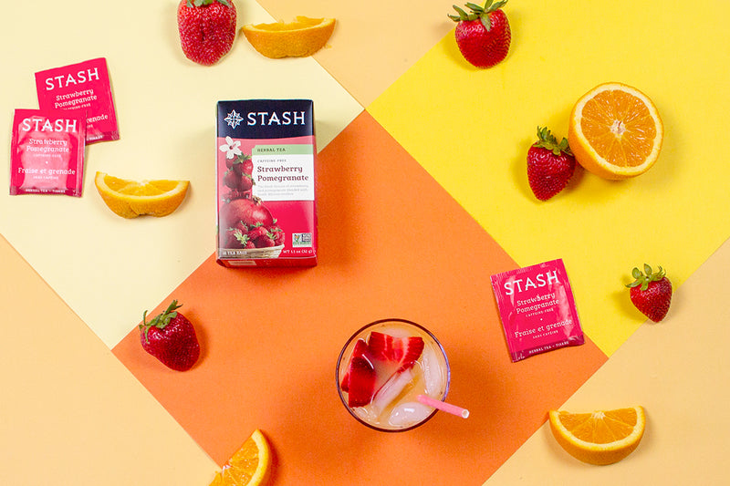 Strawberry Pomegranate Tea-Infused Tequila Sunrise Recipe | Stash Tea