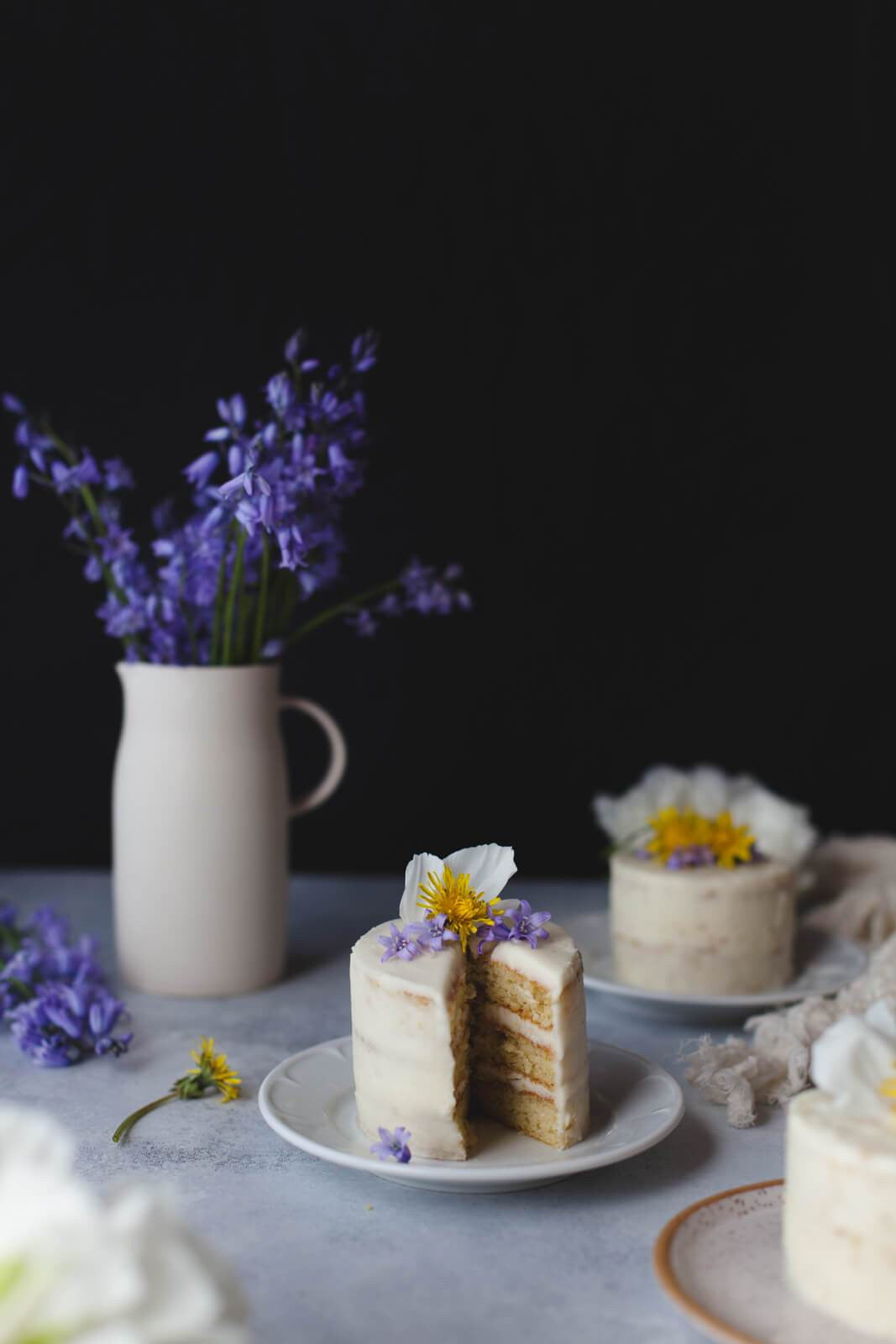 Dandelion-Tea Frosted Mini Cakes