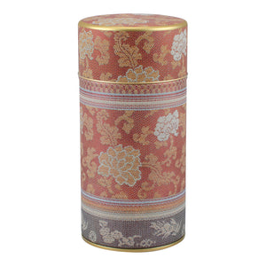 Persimmon Brocade Peony Tea Canister