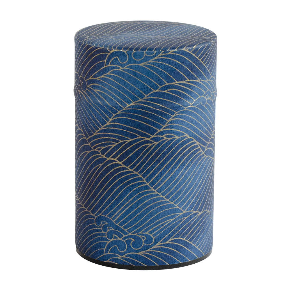 Indigo & Gold Waves Japanese Wazome Paper Tea Canisters | Stash Tea