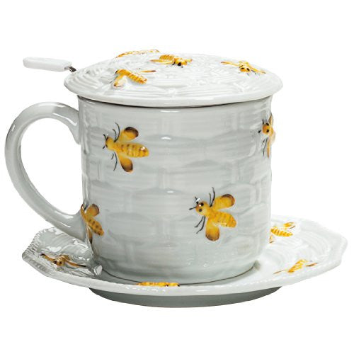 Yellow Bees Covered Mug with Infuser