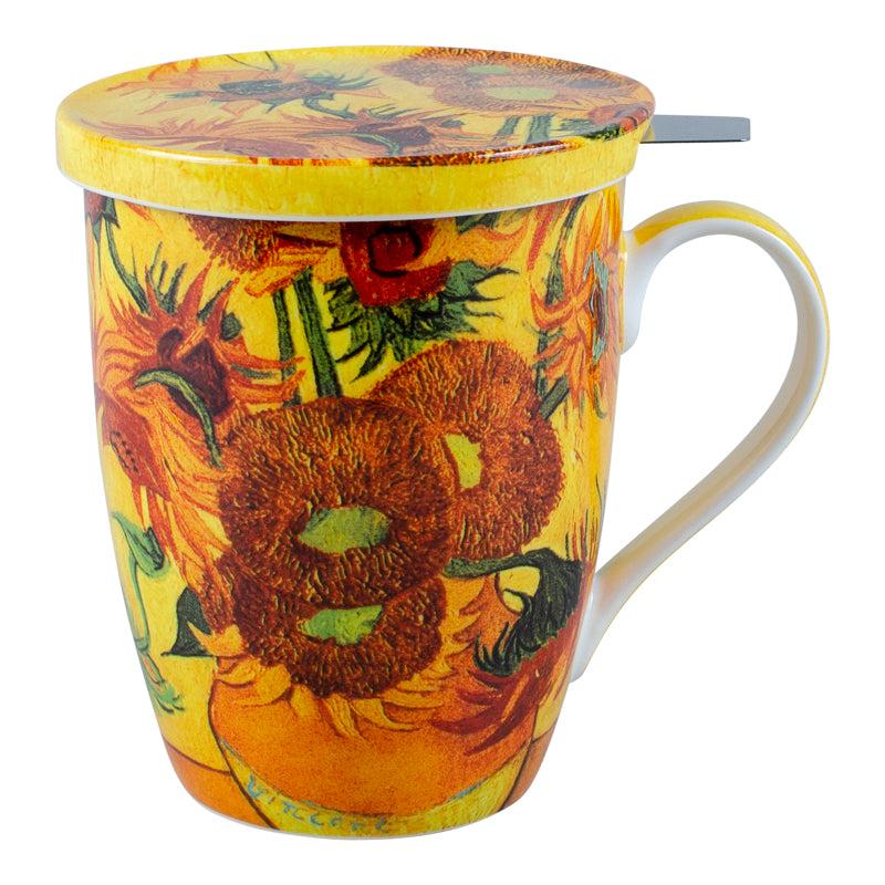 Van Gogh Sunflowers Infuser Mug with Lid in Gift Box