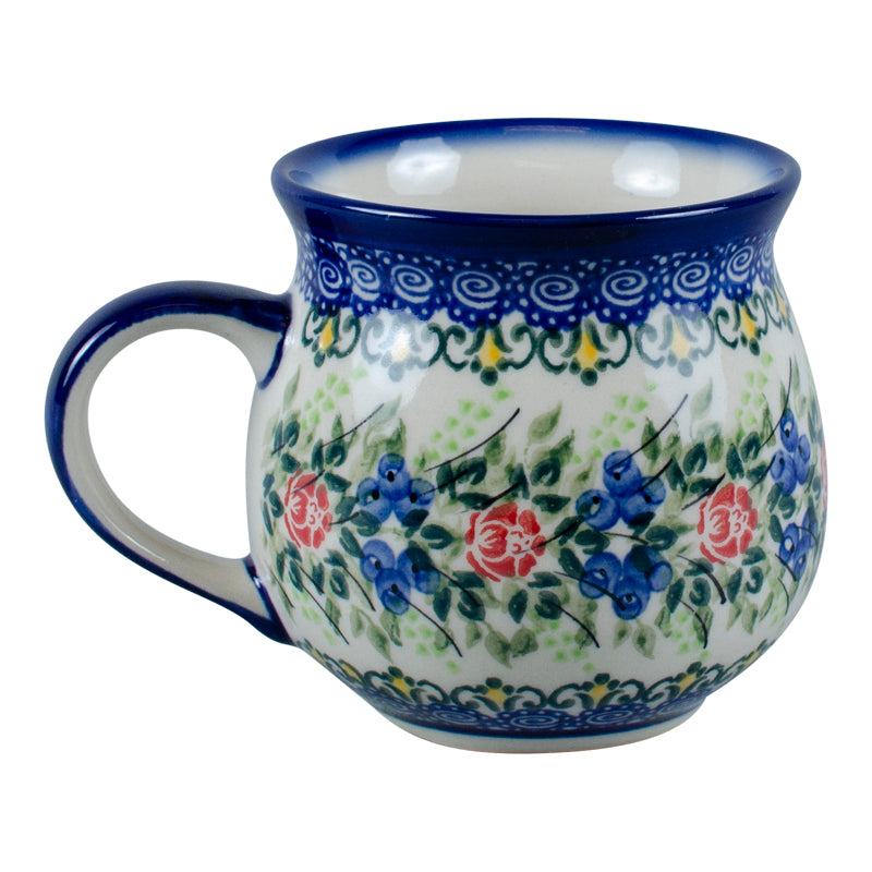 Polish Pottery Blueberries and Roses Bubble Mug