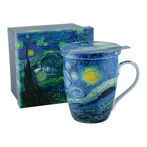 Van Gogh Starry Night Infuser Mug with Lid in Gift Box