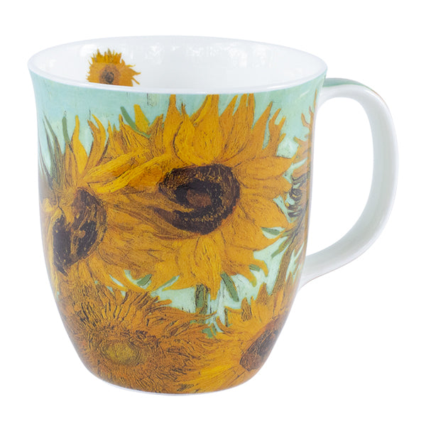 Van Gogh Sunflowers on Aqua Mug In Gift Box 12 oz | Stash Tea