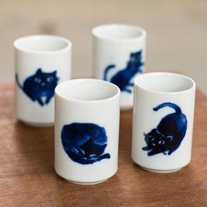 Indigo Cats Tea Cup Set of Four