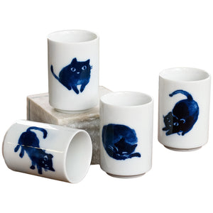 Indigo Cats Tea Cup Set of Four 4 oz | Stash Tea