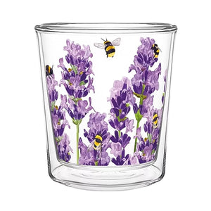 Bees & Lavender Medium Double-Wall Tea Glass 10 oz | Stash Tea