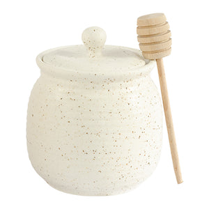 Natural Flecked Stoneware Honey Pot 11 oz | Stash Tea