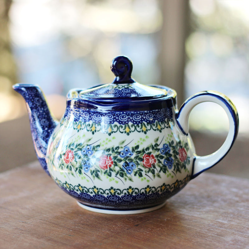 Polish Pottery Blueberries and Roses Teapot