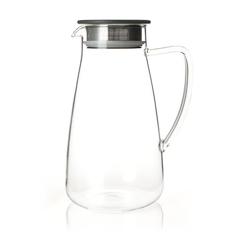 Flask Glass Iced Tea Jug with Black Lid